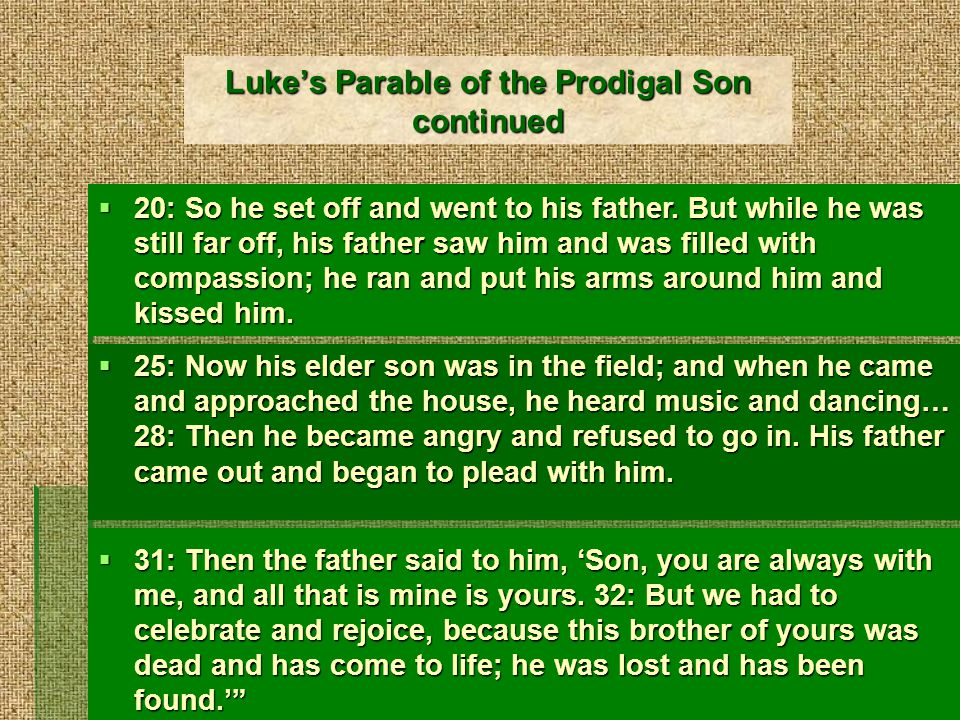 Lukes Parable of the Prodigal Son continued 20: So he set off and went to his father.