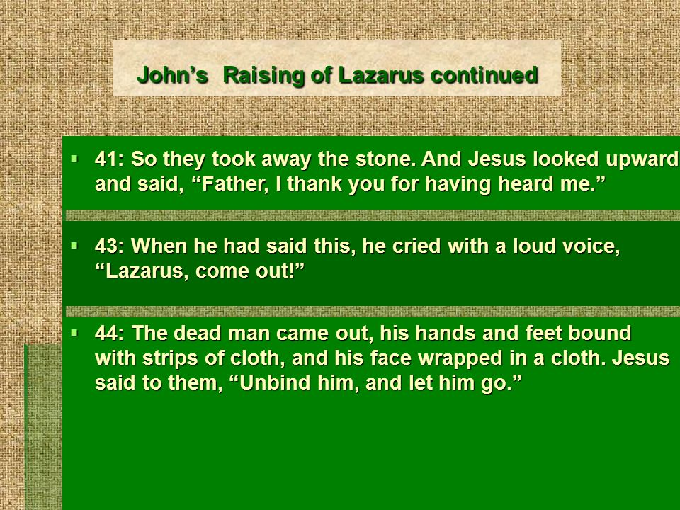 Johns Raising of Lazarus continued 41: So they took away the stone.