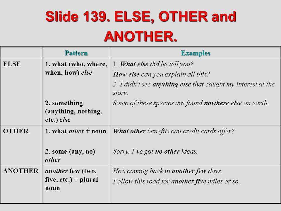 Slide 139. ELSE, OTHER and ANOTHER. PatternExamples ELSE1. what (who, where, when, how) else 2. something (anything, nothing, etc.) else 1. What else