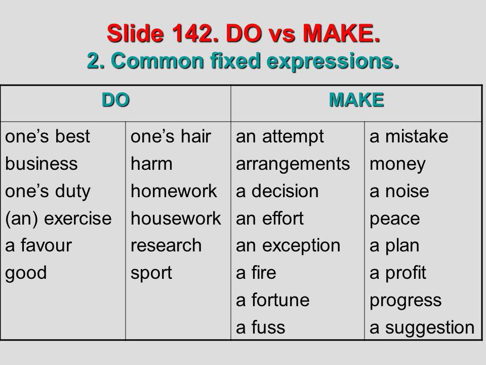 Slide 142. DO vs MAKE. 2. Common fixed expressions. DOMAKE ones best business ones duty (an) exercise a favour good ones hair harm homework housework