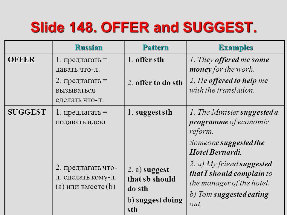 Slide 148. OFFER and SUGGEST. RussianPatternExamples OFFER1. предлагать = давать что-л. 2. предлагать = вызываться сделать что-л. 1. offer sth 2. offe