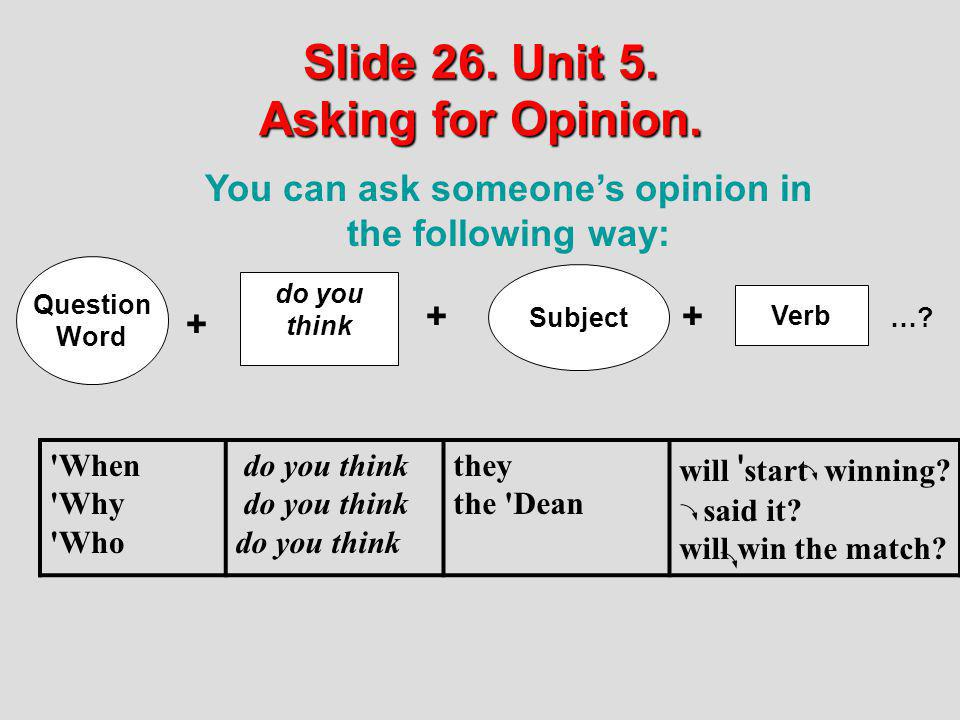 Slide 26. Unit 5. Asking for Opinion. You can ask someones opinion in the following way: do you think Subject Verb ++ …? 'When 'Why 'Who do you think
