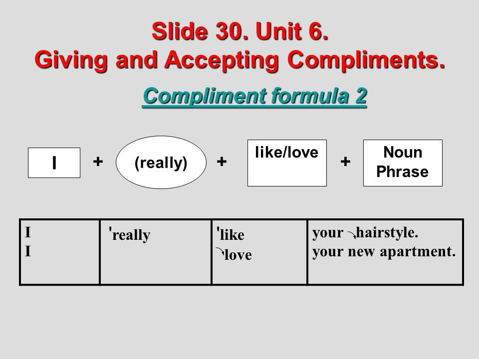 Slide 30. Unit 6. Giving and Accepting Compliments. Compliment formula 2 like/love (really) I ++ IIII ' really ' like love your hairstyle. your new ap