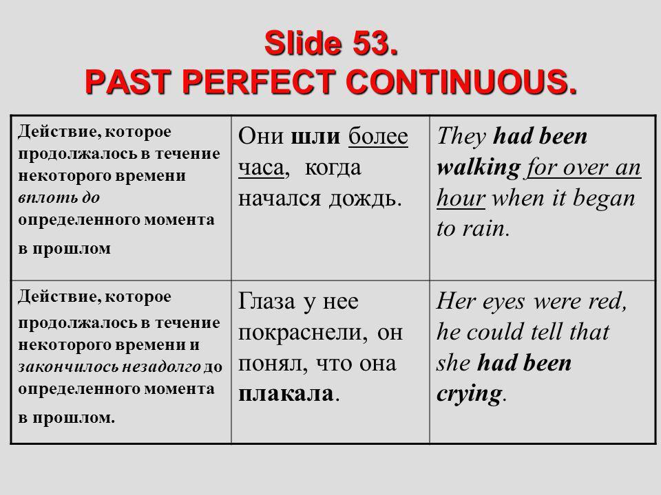 Slide 53. PAST PERFECT CONTINUOUS. Действие, которое продолжалось в течение некоторого времени вплоть до определенного момента в прошлом Они шли более