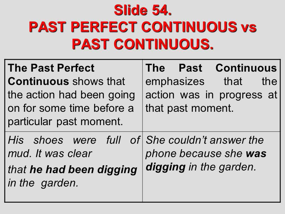 Slide 54. PAST PERFECT CONTINUOUS vs PAST CONTINUOUS. The Past Perfect Continuous shows that the action had been going on for some time before a parti