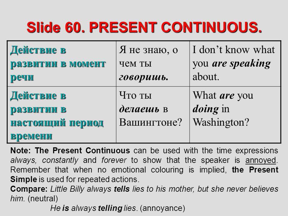 Slide 60. PRESENT CONTINUOUS. Действие в развитии в момент речи Я не знаю, о чем ты говоришь. I dont know what you are speaking about. Действие в разв