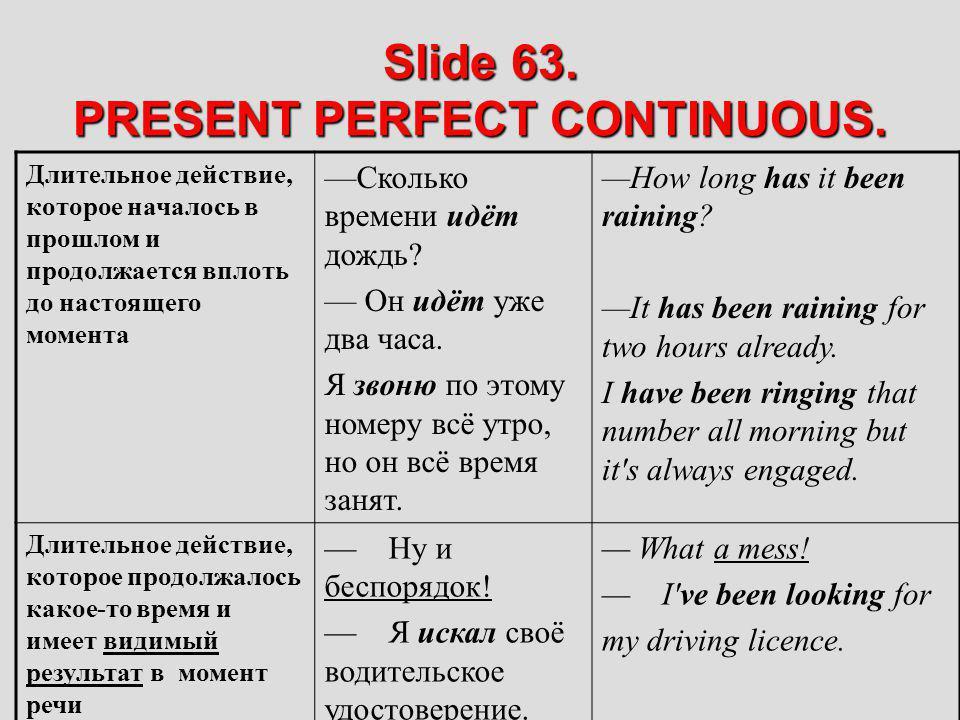 Slide 63. PRESENT PERFECT CONTINUOUS. Длительное действие, которое началось в прошлом и продолжается вплоть до настоящего момента Сколько времени идёт