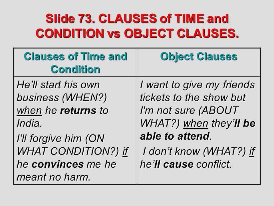 Slide 73. CLAUSES of TIME and CONDITION vs OBJECT CLAUSES. Clauses of Time and Condition Object Clauses Hell start his own business (WHEN?) when he re
