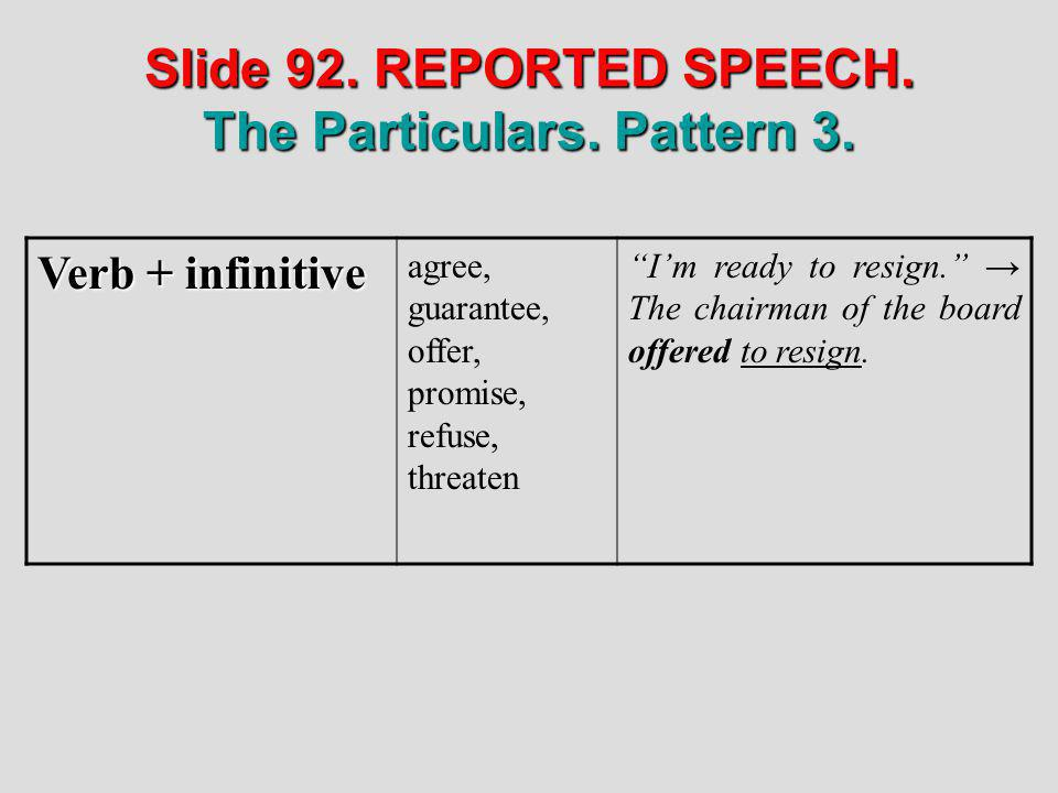Slide 92. REPORTED SPEECH. The Particulars. Pattern 3. Verb + infinitive agree, guarantee, offer, promise, refuse, threaten Im ready to resign. The ch