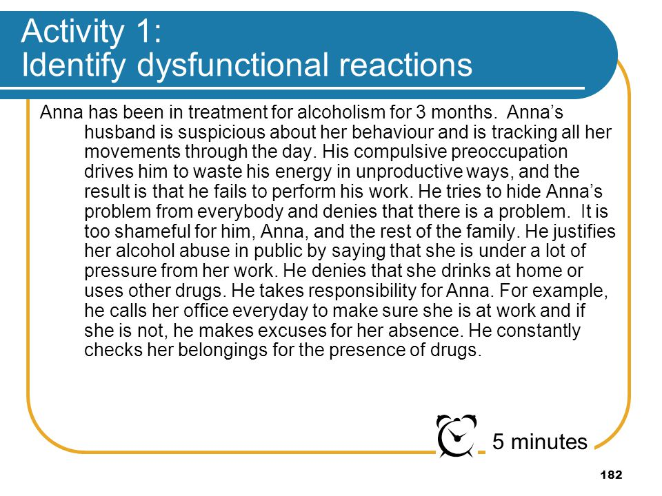 182 Activity 1: Identify dysfunctional reactions Anna has been in treatment for alcoholism for 3 months. Annas husband is suspicious about her behavio