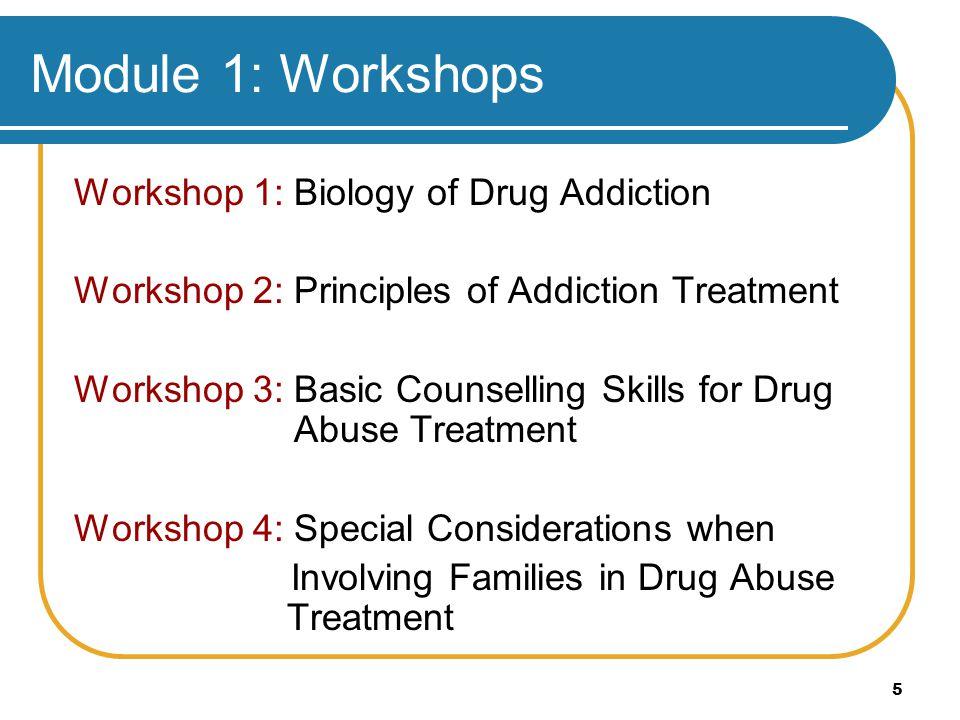 5 Module 1: Workshops Workshop 1: Biology of Drug Addiction Workshop 2: Principles of Addiction Treatment Workshop 3: Basic Counselling Skills for Dru