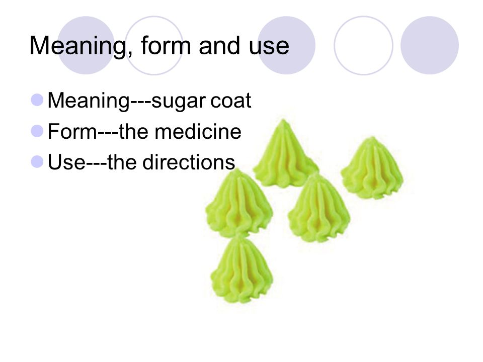 Meaning, form and use Meaning---sugar coat Form---the medicine Use---the directions