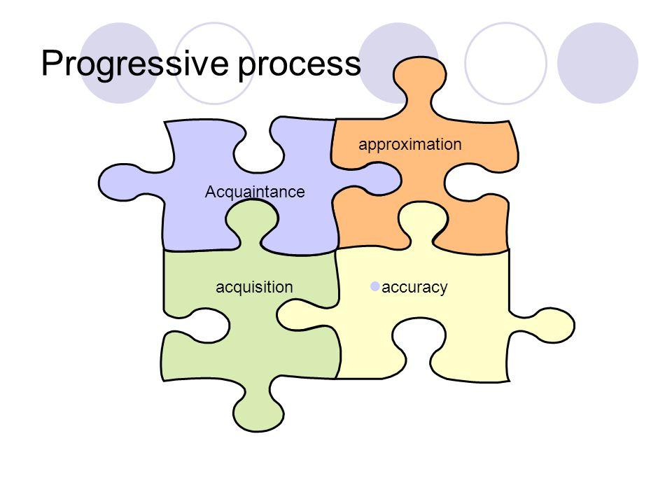 Progressive process Acquaintance acquisition approximation accuracy