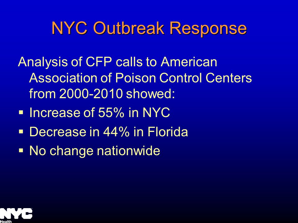 NYC Outbreak Response Analysis of CFP calls to American Association of Poison Control Centers from 2000-2010 showed: Increase of 55% in NYC Decrease in 44% in Florida No change nationwide