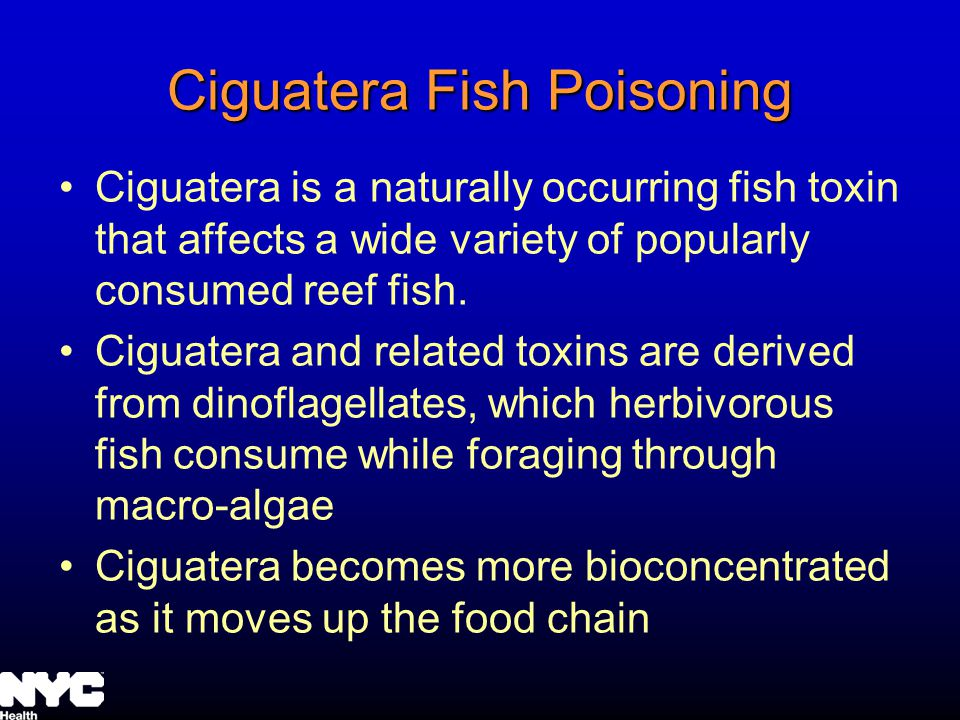 Ciguatera Fish Poisoning Ciguatera is a naturally occurring fish toxin that affects a wide variety of popularly consumed reef fish.