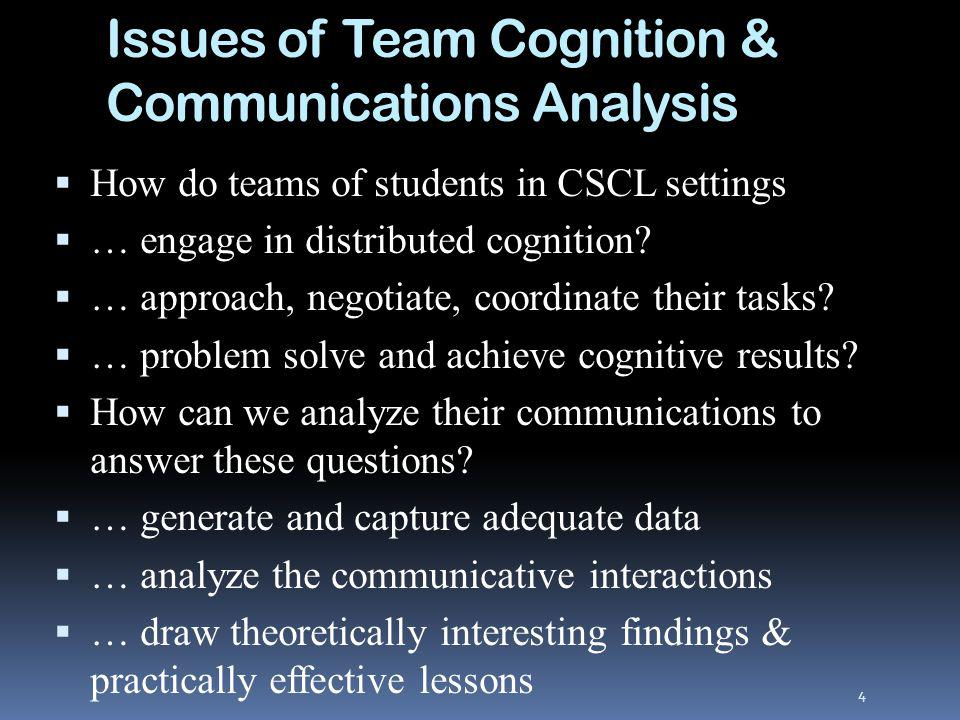 Issues of Team Cognition & Communications Analysis How do teams of students in CSCL settings … engage in distributed cognition.