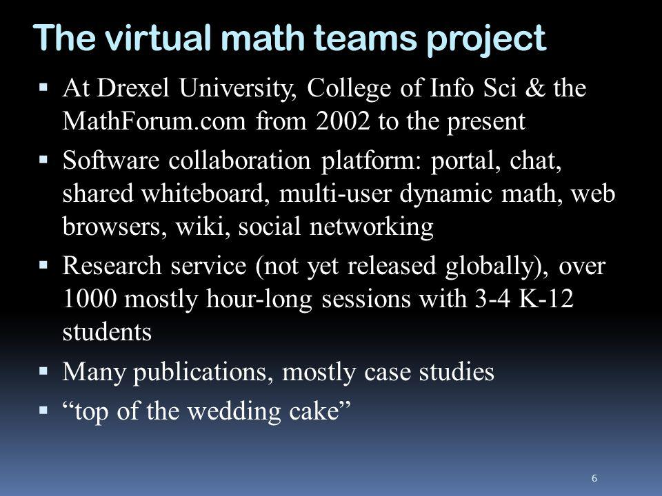 The virtual math teams project At Drexel University, College of Info Sci & the MathForum.com from 2002 to the present Software collaboration platform: portal, chat, shared whiteboard, multi-user dynamic math, web browsers, wiki, social networking Research service (not yet released globally), over 1000 mostly hour-long sessions with 3-4 K-12 students Many publications, mostly case studies top of the wedding cake 6