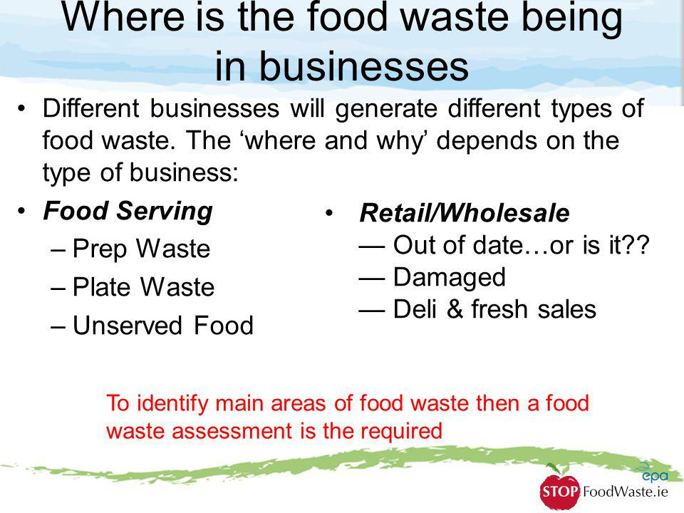 Where is the food waste being in businesses Different businesses will generate different types of food waste. The where and why depends on the type of