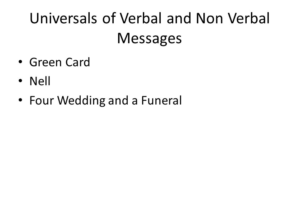 Universals of Verbal and Non Verbal Messages Green Card Nell Four Wedding and a Funeral