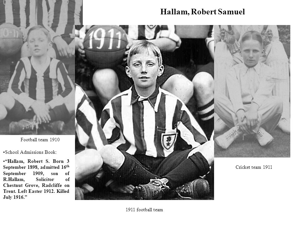 Hallam, Robert Samuel Football team 1910 Cricket team 1911 1911 football team School Admissions Book: Hallam, Robert S.