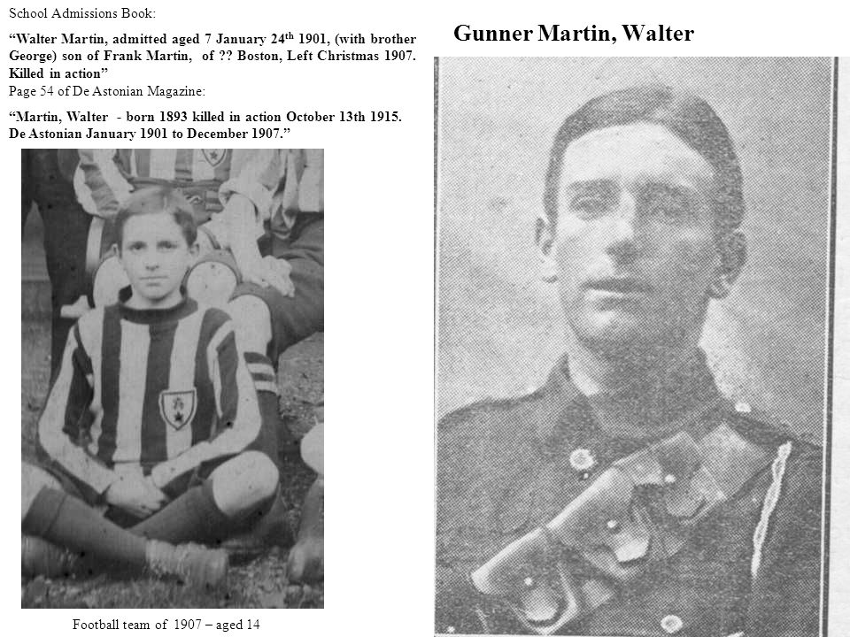 Gunner Martin, Walter Page 54 of De Astonian Magazine: Martin, Walter - born 1893 killed in action October 13th 1915.