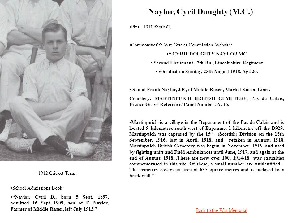 Naylor, Cyril Doughty (M.C.) Back to the War Memorial Plus..