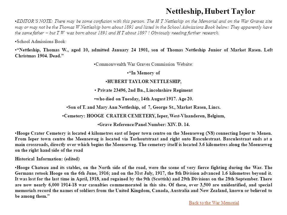 Nettleship, Hubert Taylor Back to the War Memorial EDITORS NOTE: There may be some confusion with this person.