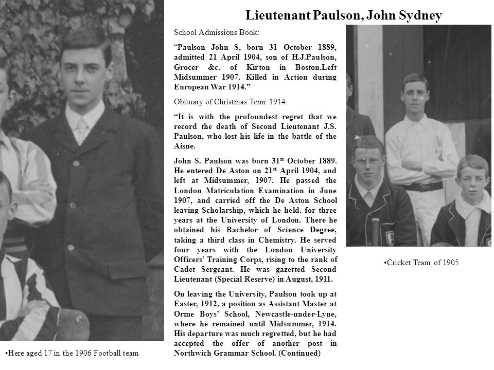 School Admissions Book: Paulson John S, born 31 October 1889, admitted 21 April 1904, son of H.J.Paulson, Grocer &c.