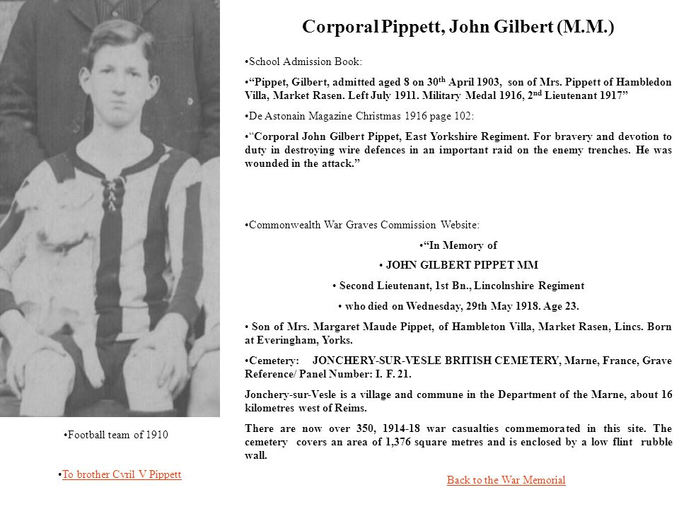 School Admission Book: Pippet, Gilbert, admitted aged 8 on 30 th April 1903, son of Mrs.