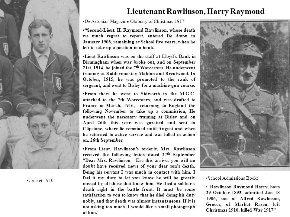 Lieutenant Rawlinson, Harry Raymond Cricket 1910 De Astonian Magazine Obituary of Christmas 1917 Second-Lieut.