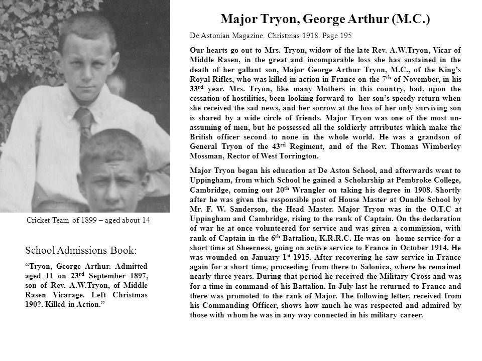 Major Tryon, George Arthur (M.C.) De Astonian Magazine.