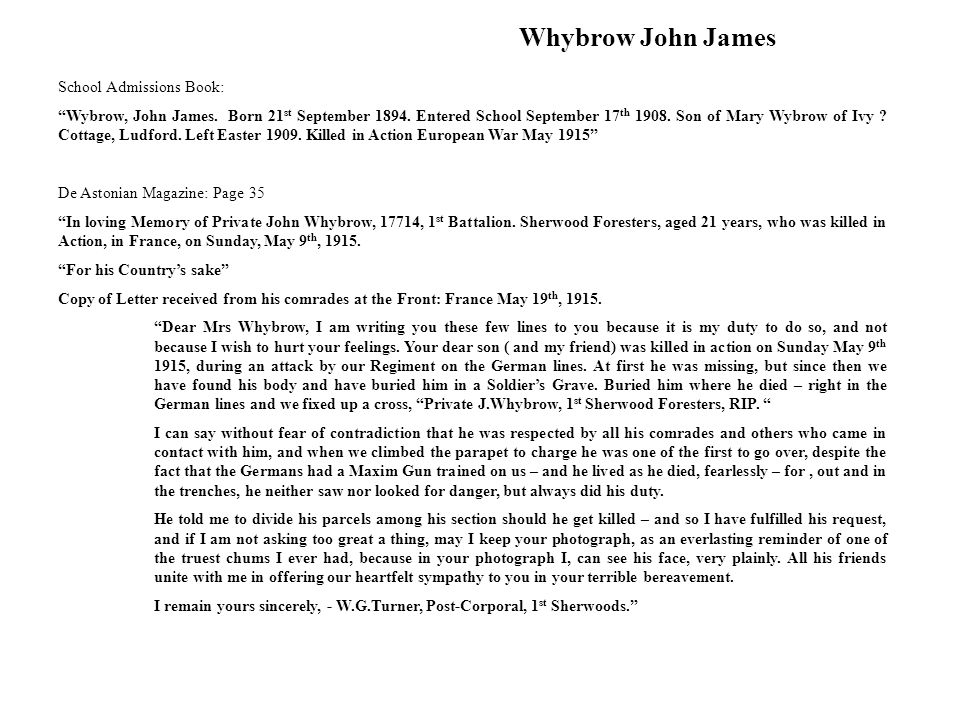 Whybrow John James School Admissions Book: Wybrow, John James.