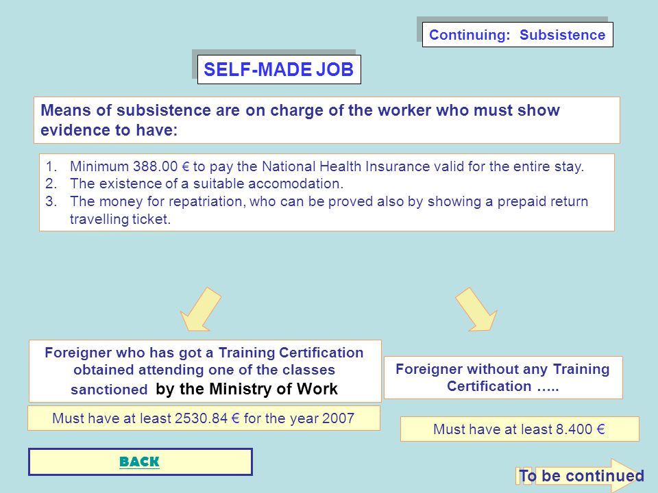 SELF-MADE JOB 1.Minimum to pay the National Health Insurance valid for the entire stay.