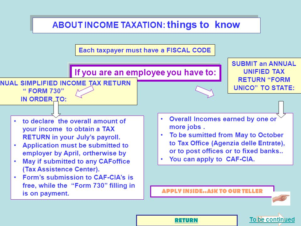 ABOUT INCOME TAXATION: things to know If you are an employee you have to: to declare the overall amount of your income to obtain a TAX RETURN in your