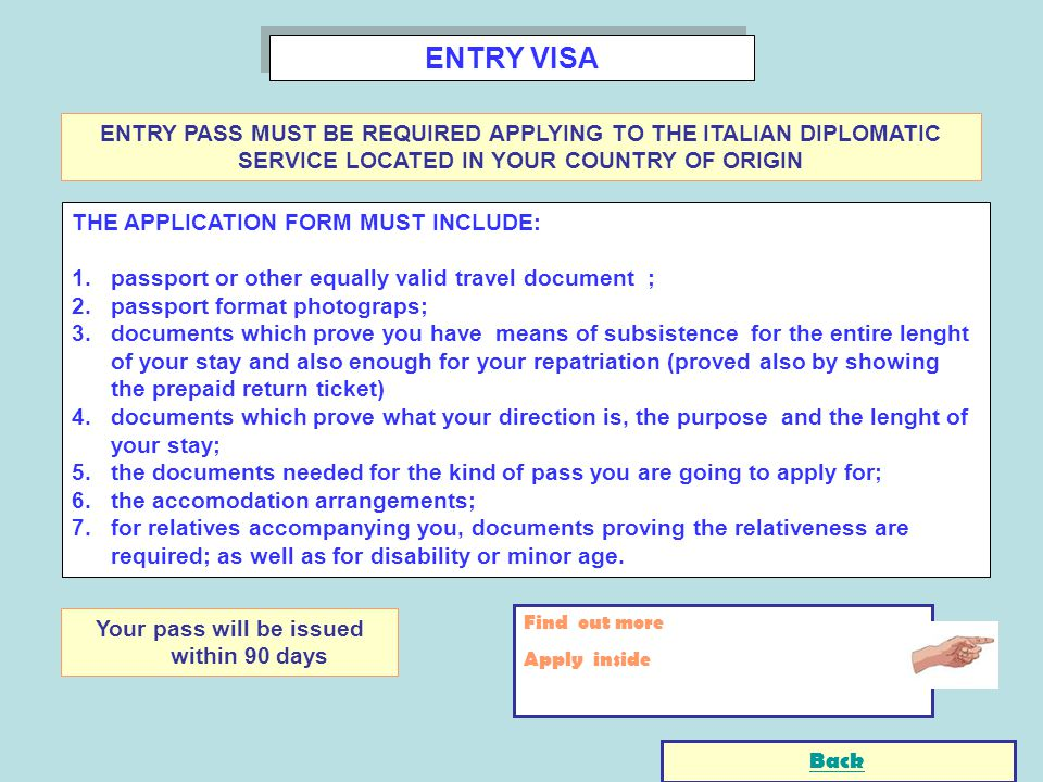 ENTRY VISA THE APPLICATION FORM MUST INCLUDE: 1.passport or other equally valid travel document ; 2.passport format photograps; 3.documents which prov