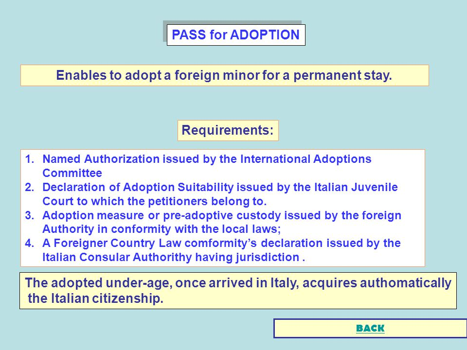 PASS for ADOPTION 1.Named Authorization issued by the International Adoptions Committee 2.Declaration of Adoption Suitability issued by the Italian Juvenile Court to which the petitioners belong to.