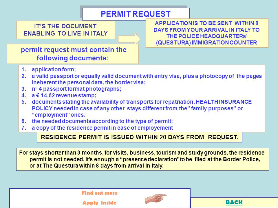 1.application form; 2.a valid passport or equally valid document with entry visa, plus a photocopy of the pages ineherent the personal data, the border visa; 3.n° 4 passport format photographs; 4.a 14,62 revenue stamp; 5.documents stating the availability of transports for repatriation, HEALTH INSURANCE POLICY needed in case of any other stays different from the family purposes or employment ones.