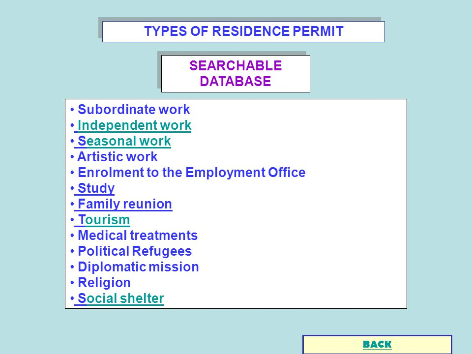 TYPES OF RESIDENCE PERMIT Subordinate work Independent work Seasonal workeasonal work Artistic work Enrolment to the Employment Office Study Family reunion Tourismourism Medical treatments Political Refugees Diplomatic mission Religion Social shelterocial shelter BACK SEARCHABLE DATABASE