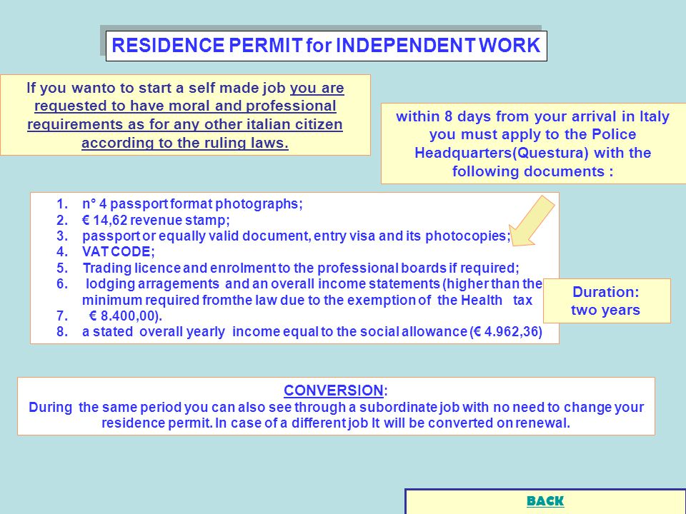 RESIDENCE PERMIT for INDEPENDENT WORK 1.n° 4 passport format photographs; 2.