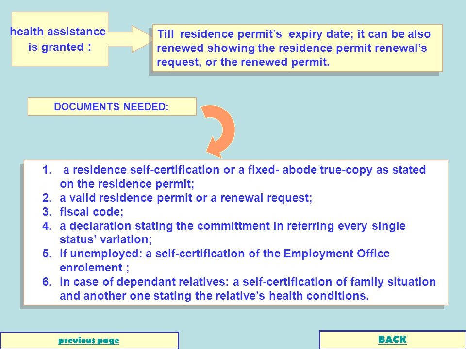 1. a residence self-certification or a fixed- abode true-copy as stated on the residence permit; 2.a valid residence permit or a renewal request; 3.fi