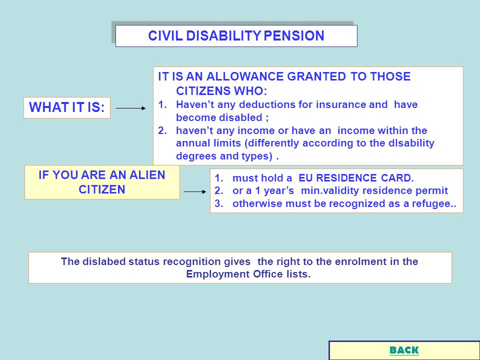 CIVIL DISABILITY PENSION The dislabed status recognition gives the right to the enrolment in the Employment Office lists.