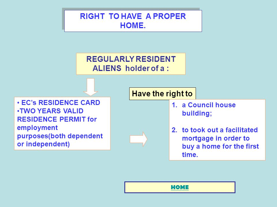 RIGHT TO HAVE A PROPER HOME. ECs RESIDENCE CARD TWO YEARS VALID RESIDENCE PERMIT for employment purposes(both dependent or independent) Have the right