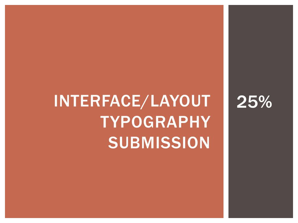 INTERFACE/LAYOUT, TYPOGRAPHY, SUBMISSION