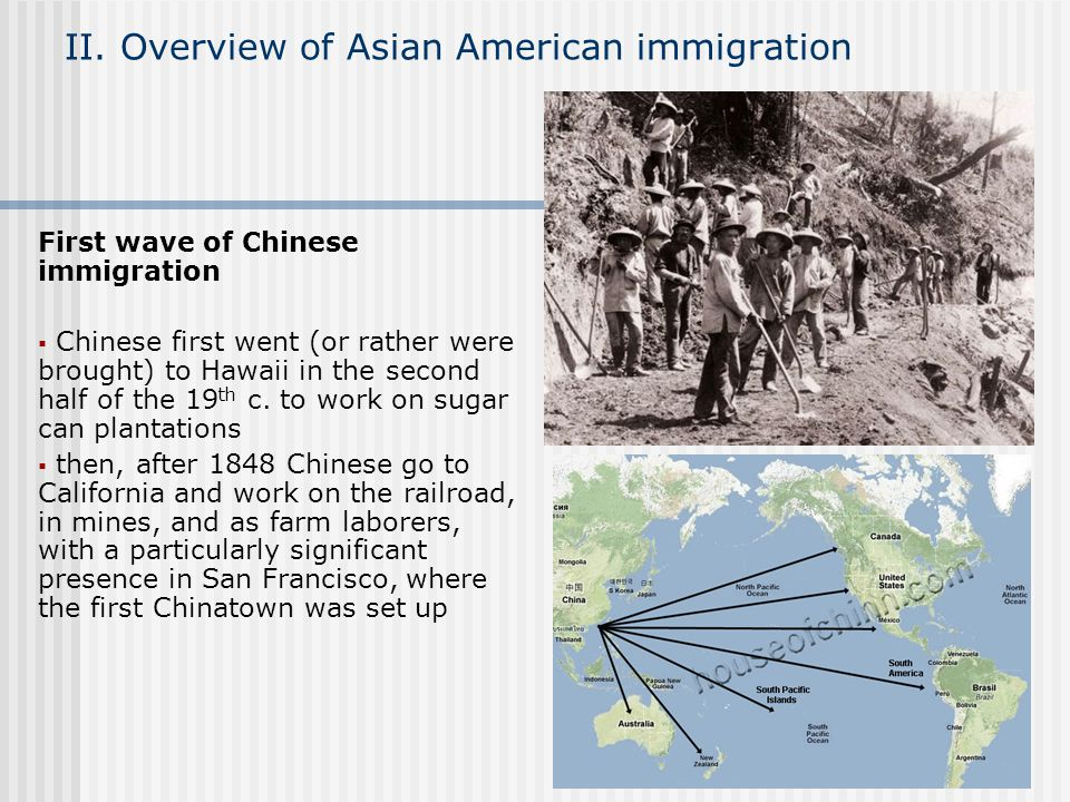 II. Overview of Asian American immigration First wave of Chinese immigration Chinese first went (or rather were brought) to Hawaii in the second half