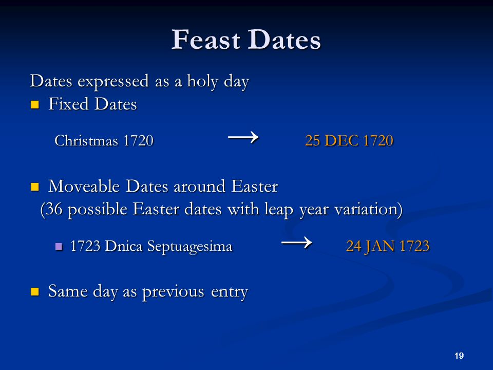 19 Feast Dates Dates expressed as a holy day Fixed Dates Fixed Dates Christmas 1720 25 DEC 1720 Moveable Dates around Easter Moveable Dates around Easter (36 possible Easter dates with leap year variation) (36 possible Easter dates with leap year variation) 1723 Dnica Septuagesima 24 JAN 1723 1723 Dnica Septuagesima 24 JAN 1723 Same day as previous entry Same day as previous entry