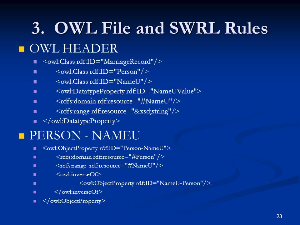 23 3. OWL File and SWRL Rules OWL HEADER PERSON - NAMEU