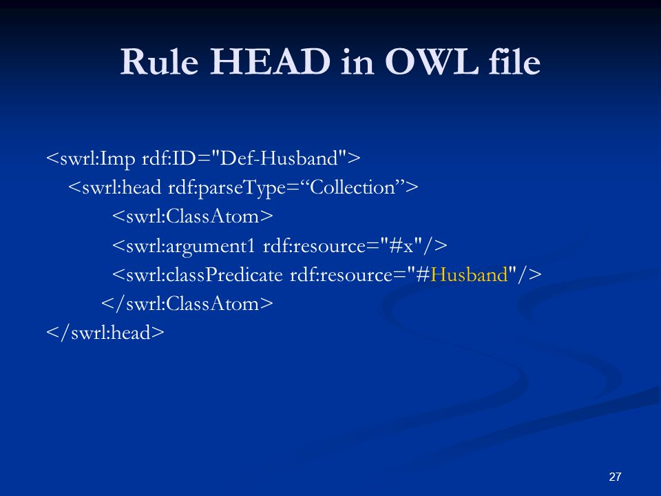 27 Rule HEAD in OWL file