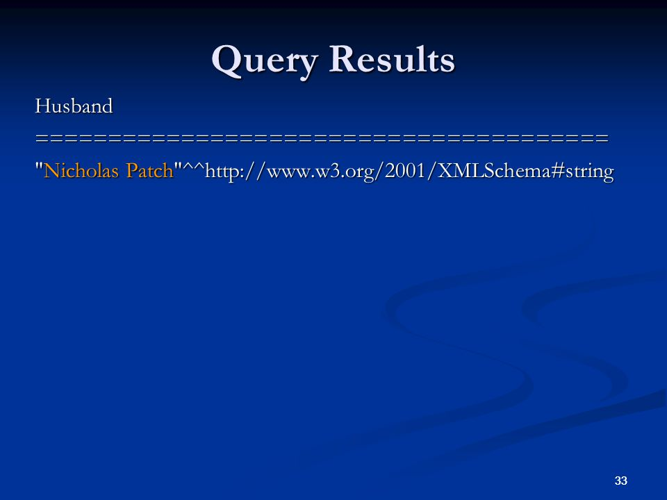33 Query Results Husband======================================= Nicholas Patch ^^http://www.w3.org/2001/XMLSchema#string