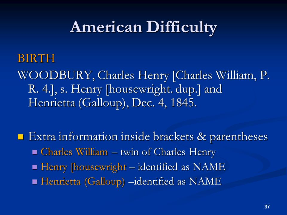 37 American Difficulty BIRTH WOODBURY, Charles Henry [Charles William, P.