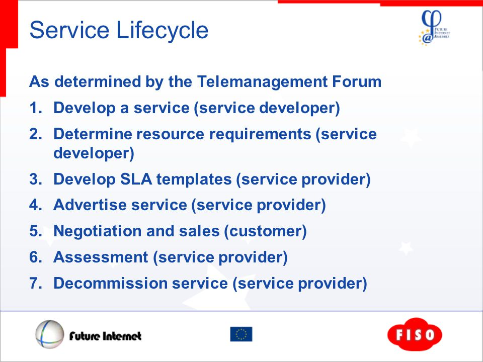 Service Lifecycle As determined by the Telemanagement Forum 1.